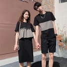 情侶裝 同色系情侶裝2021新款夏裝日系拼接短袖連衣裙港味T恤