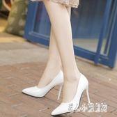 大尺碼女鞋 尖頭高跟性感漆皮sm高跟女鞋淺口單鞋細跟工作鞋 nm15682【甜心小妮童裝】