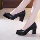 中跟鞋 粗跟鞋 工作鞋黑色職業面試正裝圓...