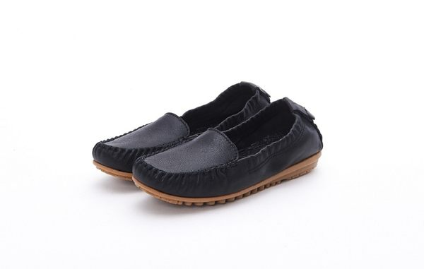 MICHELLE PARK 輕時尚舒適彈力牛皮休閒平底黑線鞋-黑