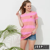 【JEEP】女裝 條紋長版舒適短袖TEE-粉