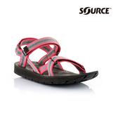 SOURCE 女越野運動涼鞋Stream101022OP【粉紅灰】/ 城市綠洲(織帶、輕量、快乾、抑菌)