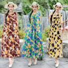 棉麻洋裝連身裙8365棉麻風無袖連身裙夏季新款韓版中長款印花背心裙子MA110依佳衣