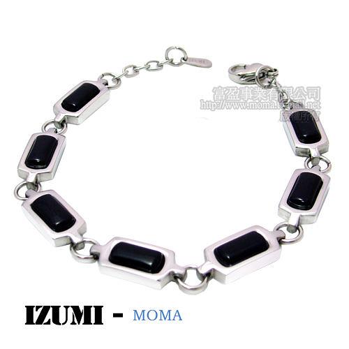 MOMA-【IZUMI】系列白鋼鍺磁手鍊-黑瑪瑙IS-006