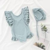 兒童泳衣 ins兒童泳衣女孩連體泳裝裙寶寶嬰幼兒女童小公主可愛韓國游泳衣 七色堇
