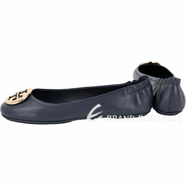 TORY BURCH Minnie Travel 圓弧金屬盾牌折疊平底鞋(墨藍色) 1730088-34