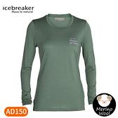 【Icebreaker 女 Tech Lite II 圓領長袖上衣《鼠尾草綠》】0A59IT/內層衣/薄長袖/內搭