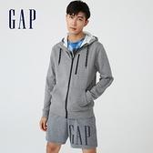 Gap男裝 簡約風格素色針織拉鍊連帽外套 608028-灰色