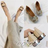 單鞋 春季新款韓版仙女方頭粗跟方跟中跟單鞋女鞋豆豆鞋奶奶鞋女夏    coco衣巷