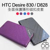 E68精品館 斜紋撞色 隱形磁扣 HTC Desire 830 手機殼 掀蓋皮套 手機支架 保護套