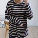 【E565-0015】韓系圓領針織衫-(4色)撞色條紋毛衣上衣(SIZE:約XL)☆貝兒