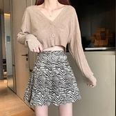 百褶裙斑馬紋春夏季半身裙新款高腰顯瘦ins超仙學生百搭短裙