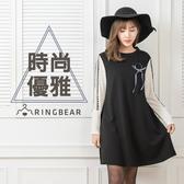 長袖洋裝--典雅氣質縷空網袖側開口袋背開拉鍊傘狀下襬連身裙(黑XL-3L)-A305眼圈熊中大尺碼