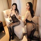 天使波堤【LD0329】誘惑裸背掛脖性感蕾絲花邊開襠連身絲襪網衣 - 網紅同款 抖音主播