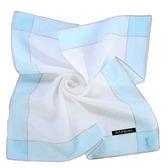 YSL 花邊浪漫玫瑰刺繡純棉帕巾(粉藍色)989027-23