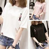 新品夏季正韓棉質短袖t恤女寬鬆正韓學生卡通刺繡百搭半袖上衣服特惠免運