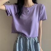 紫色寬鬆短袖上衣女秋2020年新款韓版木耳邊漏臍針織衫短款t恤 【雙十一】