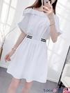熱賣雪紡洋裝 連身裙女夏學生中長收腰設計感露肩法式2021年新款雪紡白色短裙子【618 狂歡】