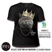 【摩達客】(預購)美國The Mountain都會系列 皇冠饒舌貓 藝術中性修身短袖T恤