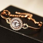 玫瑰金純銀手鍊 鑲鑽-亮麗百搭生日情人節禮物女手環 73bx8【巴黎精品】