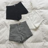 牛仔短褲 SPG 2020春夏 實用好搭/顯瘦/純色復古高腰卷邊牛仔短褲女