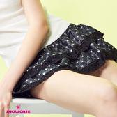 【SHOWCASE】俏皮星星緹花蕾絲襬蛋糕短裙(黑)