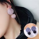 簡約氣質毛球耳環 耳針 (棉麻圈+毛球) MSZ9508-CL