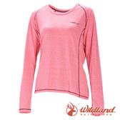 【wildland 荒野】女 圓領雙色抗UV長袖上衣『粉紅』0A71613 T恤 上衣 女版 長袖 排汗 休閒 戶外 登山