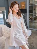 睡衣女夏性感誘惑冰絲綢薄款蕾絲花邊秋冬季吊帶睡裙睡袍兩件套裝 衣櫥秘密