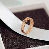韓版時尚鈦鋼鍍18K玫瑰金鏤空花朵戒指尾戒女食指指環韓國J058  居樂坊生活館