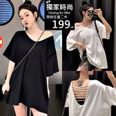 克妹Ke-Mei【AT58352】前後都性感!二面穿平行摟空寬鬆T恤洋裝
