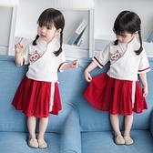 名族風童裝 女童漢服夏款中國風古裝民族服裝改良復古唐裝兒童民國風套裝裙子