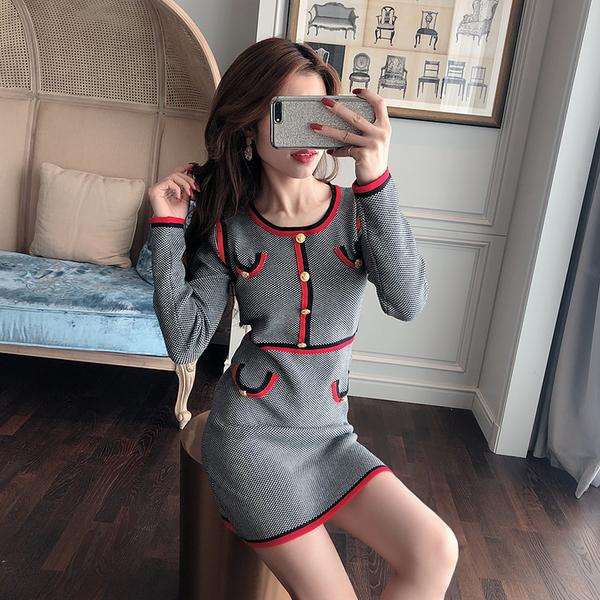 超殺29折 韓國小香風針織氣質收腰長袖洋裝