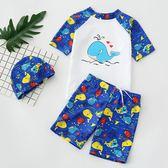 兒童泳裝兒童泳衣男童泳褲中大童寶寶分體時尚卡通游泳衣男孩防曬泳裝帶帽