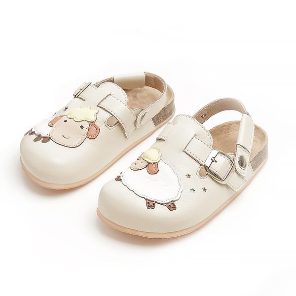 【Jingle】快樂小綿羊前包後空軟木休閒鞋(百搭米兒童款)