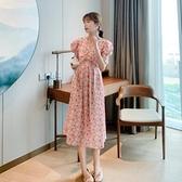 洋裝短袖裙子甜美S-XL新款泡泡短袖V領碎花朵雪紡連身裙女夏超仙顯瘦碎花中長裙H325-9093.胖胖唯依