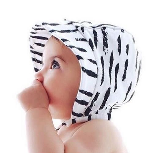 有機棉 寶寶帽 荷蘭 CarlijnQ 個性筆刷綁帶遮陽帽-2色