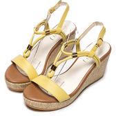 DIANA 簡約韓風—羅馬蜿蜒線條楔型涼鞋–黃★特價商品恕不能換貨★