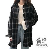 EASON SHOP(GW4165)韓版不敗款撞色格紋薄款長版OVERSIZE排釦長袖襯衫外套女上衣服寬鬆空調衫閨蜜裝