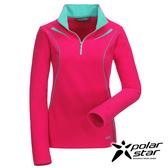 Polarstar 女 雙刷花漾保暖上衣『桃粉紅』透氣│保暖│刷毛  P16258
