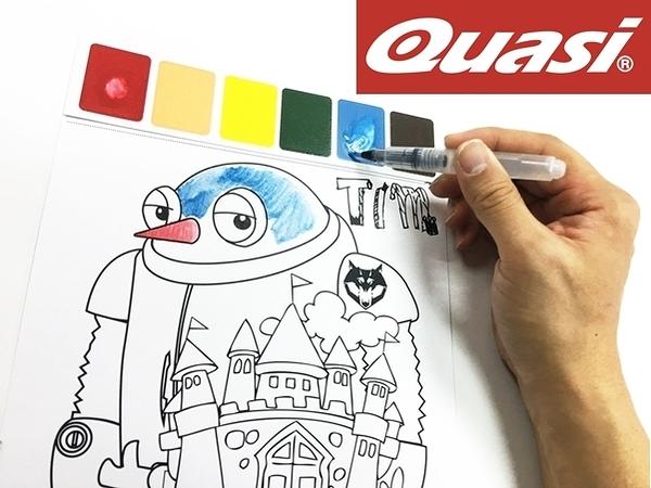 美國 Quasi Paint With Water 著色趣 水筆彩繪/塗鴉 繪圖板 1套4入(共8張繪板)+4支水筆1套4入