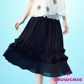 【SHOWCASE】雙菱形壓褶長裙(黑)