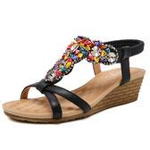 新款波西米亞羅馬鞋 坡跟串珠大碼涼鞋【多多鞋包店】z7398