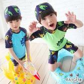 兒童泳衣 大男童 大尺寸 游泳衣 兩件式 泳帽 四角泳褲