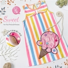 鮮亮彩配色直條背心棉質洋裝(搭配冰淇淋背帶)(310515)【水娃娃時尚童裝】