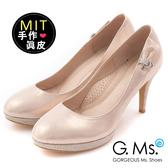 G.Ms.*MIT花嫁系列-閃耀金蔥羊皮鑽飾高跟鞋-幸福粉