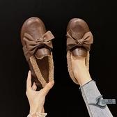 平底鞋女毛毛鞋加絨保暖百搭舒適女鞋子【邻家小鎮】