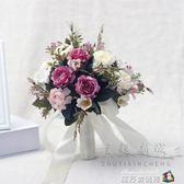 婚紗影樓攝影拍照道具新娘手捧花結婚新款粉紅白仿真韓式牡丹花束 魔方數碼館