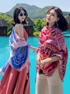 防曬披肩超大沙灘巾海邊紗巾夏季薄款絲巾女百搭紅色圍巾