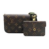 【台中米蘭站】全新品 Louis Vuitton FELICIE STRAP & GO 帆布提花肩帶混合式手拿/肩背包(M80091-卡其綠)